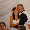 Risa wedding reception kiss