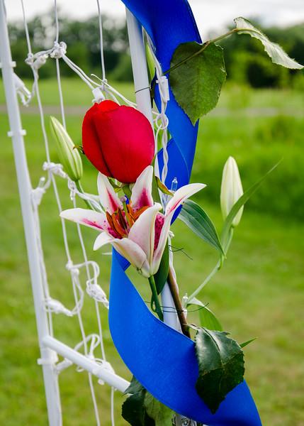 Stello wedding flowers on trellis