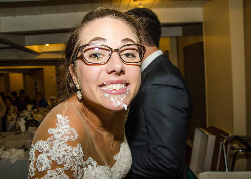 Zamora wedding bride with frosting on her face