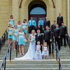 Wedding Party on steps of church
