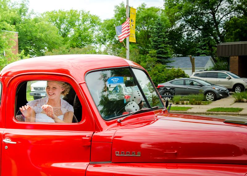 Holt wedding bride in truck window