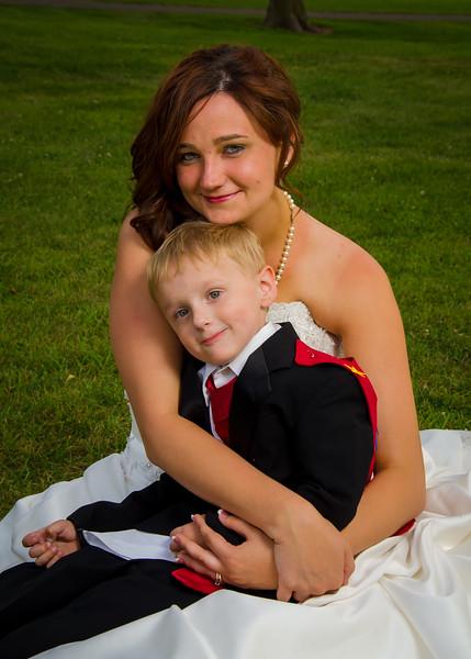 stello wedding bride sitting with son