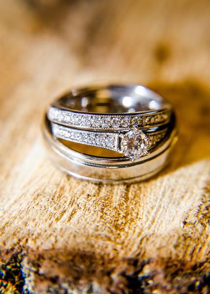 Riess wedding rings on wood