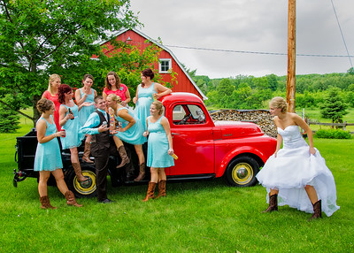 angry bride, groom with bridesmaids