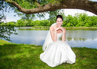 Bride on the riverbank