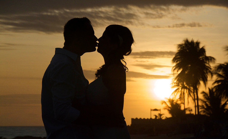 Wedding couple at sunset