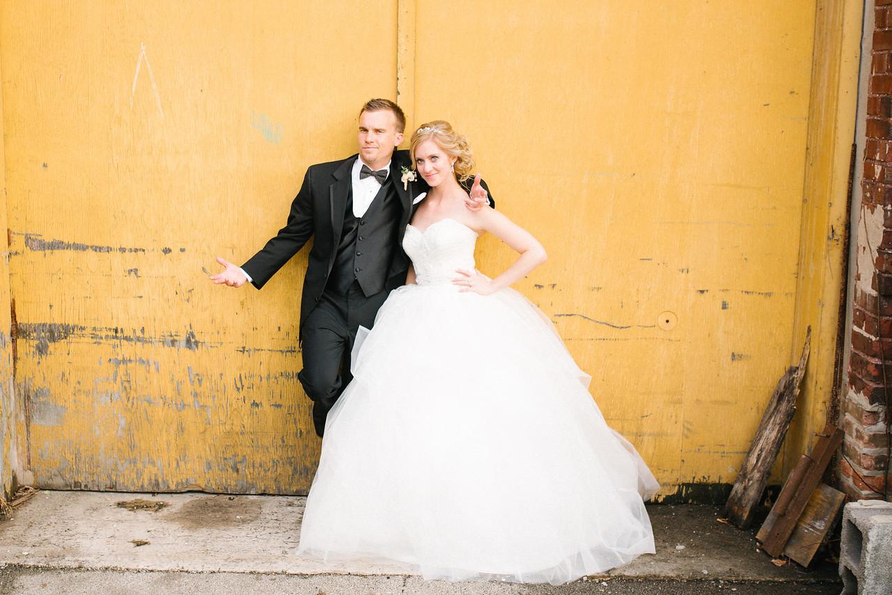 Newlywed portrait session in downtown Rockford near the Prairie St. Brewhouse. Wedding photographer – Ryan Davis Photography – Rockford, Illinois.