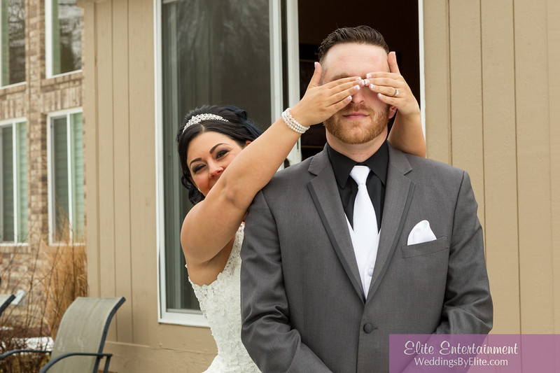 bride groom covering eyes