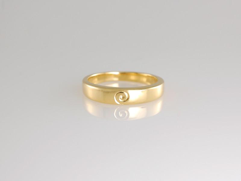 Gold Wedding Band with Gold Engraved Koru