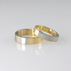 Two-tone Gold Wedding Bands in 18ct, Ladies Set with Square Diamond