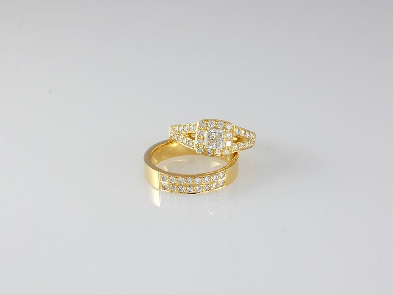 Engagement and Wedding Band Grain-set Diamonds