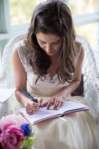 Bride working on vows