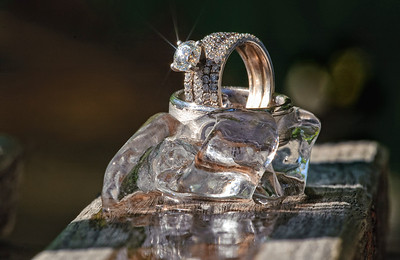 Ice on ice. Wedding rings, by Mike Reid, Boise wedding photographer.
