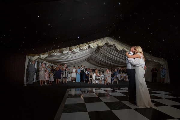 The first dance, under the stars - thursford wedding photography