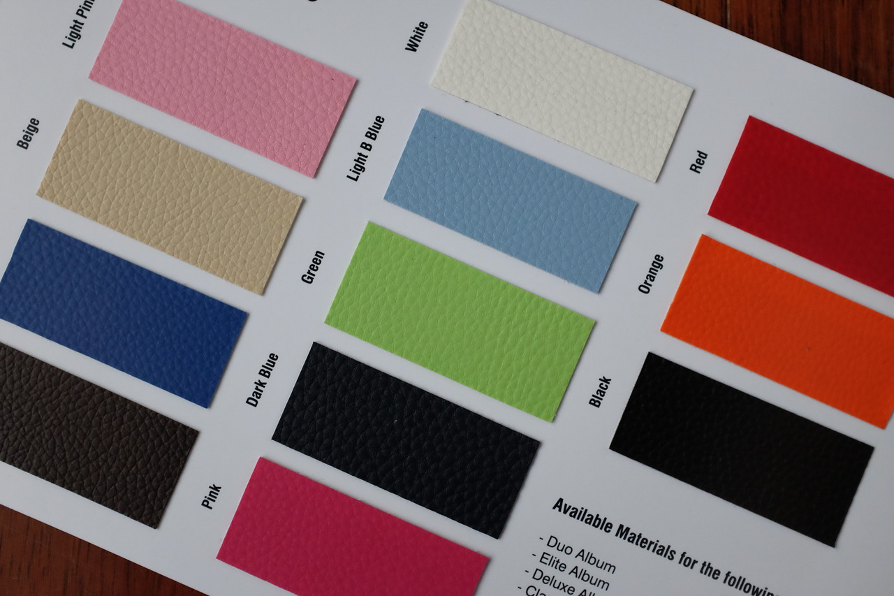 A large selection of colours and materials are available in the storybook albums