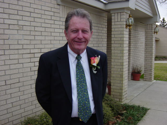 gary, outside the church before his daughter jena gets married.