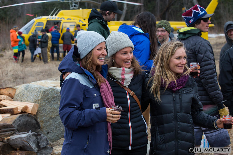 Helen Schettini, left, Robin Van Gyn, center, Jaime Anderson, right enjoy the Brownell wedding at the Bluff house in Haines. 18, April 2015