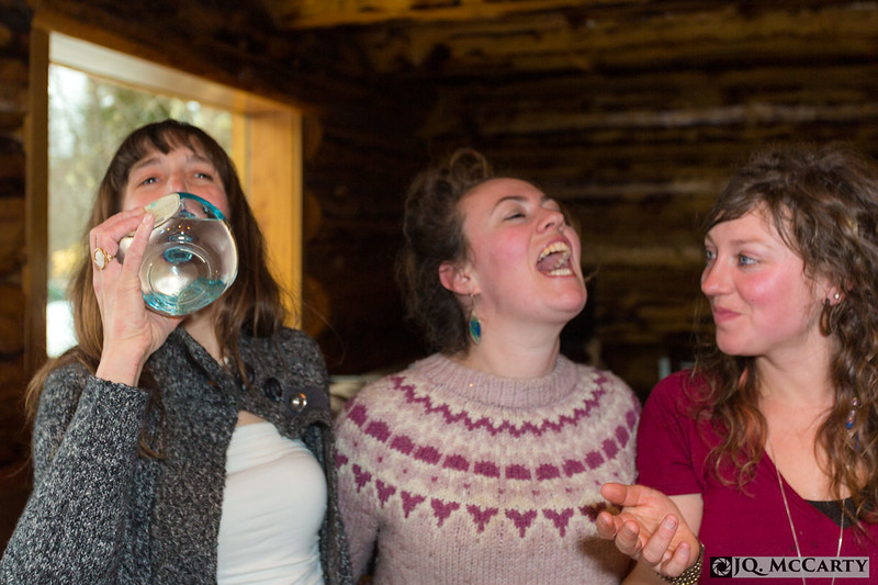 From left, Rhianna Brownell, Micaela Bauer, and Ashley Saupe enjoy tequilla shots during the Brownell wedding in Haines, Alaska. 18, April 2015
