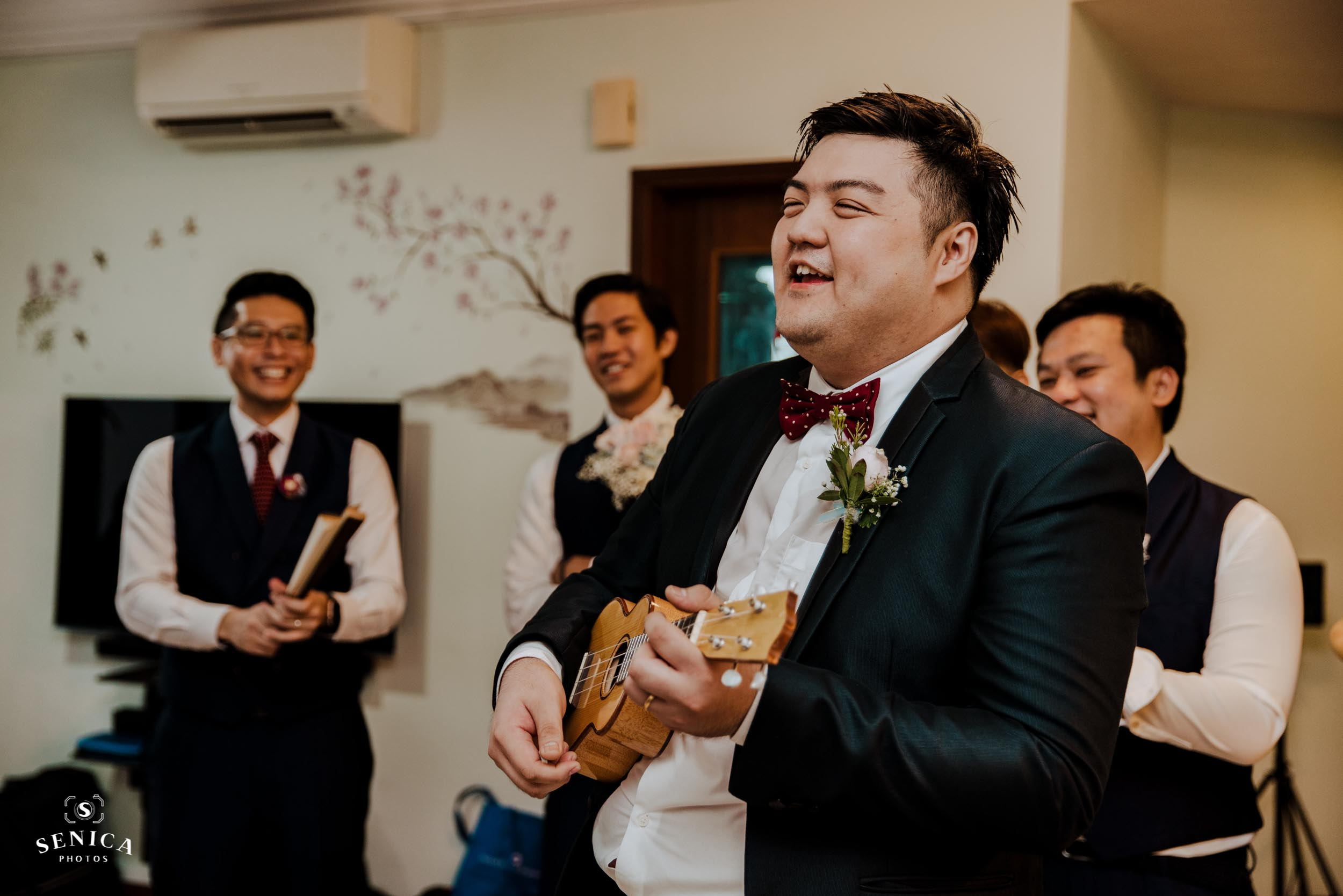 Groom singing for bride's family members