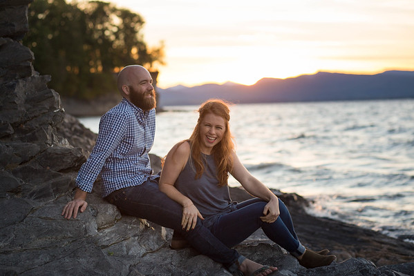 Engagement shot as the sun was setting over Lake Champlain