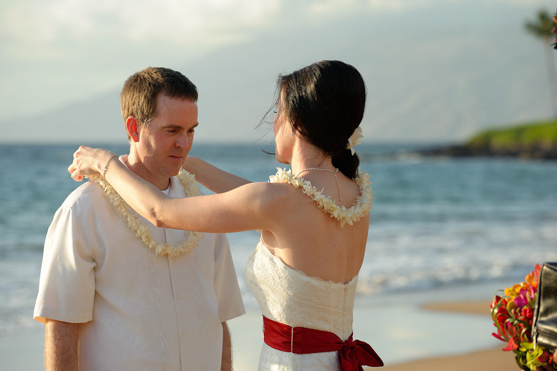 February 14, 2012:  Erin places a lei on Jeff.