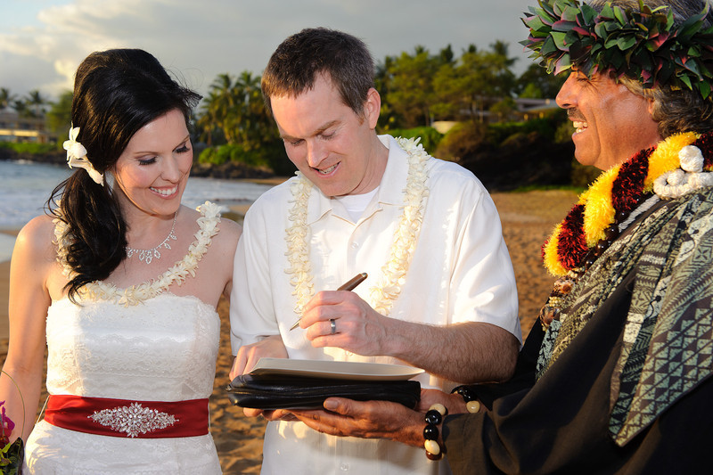 February 14, 2012:  Jeff signs the wedding certificate.