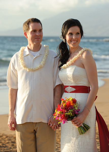 February 14, 2012:  We've been lei'd and the good reverend hasn't even pronouonced us husband and wife yet.