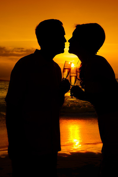 February 14, 2012:  A toast, a kiss, a sunset.