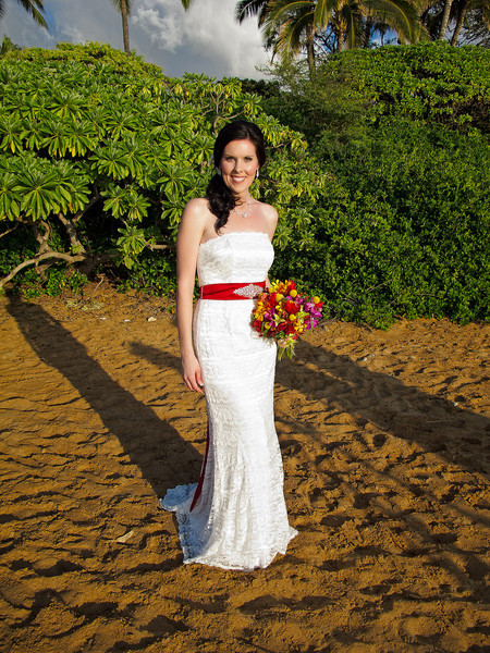 February 14, 2012: Jeff snaps a quick shot of his beautiful bride just prior to the wedding in Makena, Maui, Hawaii.