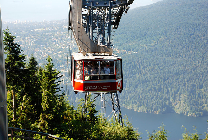 "There's Nancy's ""Skyride"" Gondola making it's way up over 3000 feet to the Observatory restaurant on ""Grouse Mountain"" in Vancouver where we got Married on the patio and had a great luncheon afterwards."