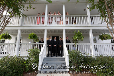 THE WEDDING PARTY AT THE BRADFORD HOUSE AND GARDENS IN FLOWERY BRANCH GA