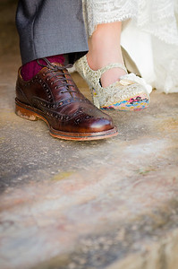Vintage footwear worn by the bride and groom