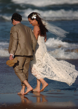 Beach wedding in Melbourne, Florida.