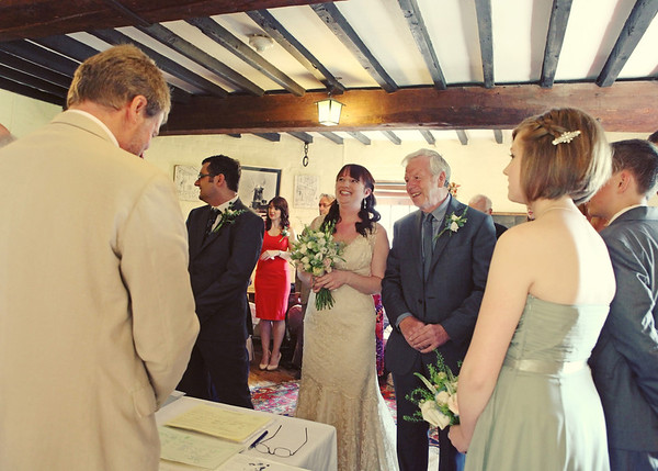 The bride arriving for her wedding ceremony at Cley Windmill