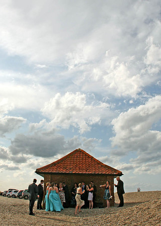 Down to Cley Beach for a wedding reception after the ceremony at Cley Windmill