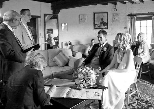 A reading at a wedding at Cley Windmill