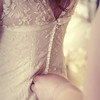 The back of a gorgeous vintage wedding dress worn at a wedding at Cley Windmill