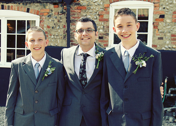 The boys again before the wedding ceremony at Cley Windmill
