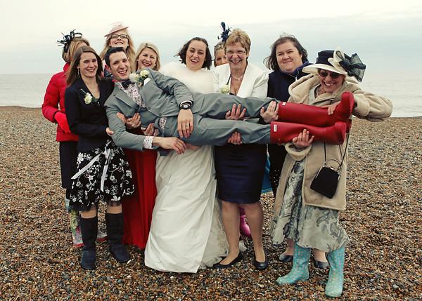 Group shots at a wedding at Cley
