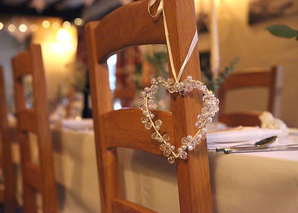 Heart Wedding decoration at a wedding breakfast at Cley Windmill
