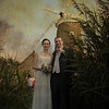 A bride and groom on their wedding day at Cley Windmill