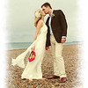 A wedding couple on Cley Beach before heading back to Cley Windmill for their wedding breakfast