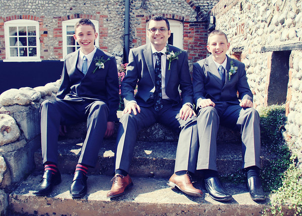 The boys before the wedding ceremony at Cley Windmill