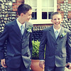 Two young bestmen looking very smart for a wedding at Cley Windmill