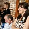 Guests enjoying the speeches at a wedding at Dairy Barns