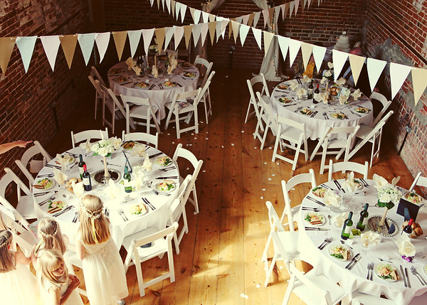 The room set up for a wedding breakfast at Dairy Barns