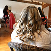 Bride getting ready at Dairy Barns for her wedding