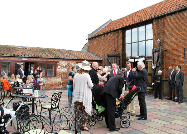 A wedding reception in the courtyard at Dairy Barns