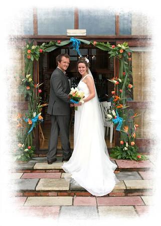 A bride and groom at Dairy Barns