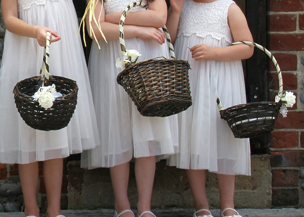 Gorgeous confetti baskets given to flowergirls at a wedding at Dairy Barns